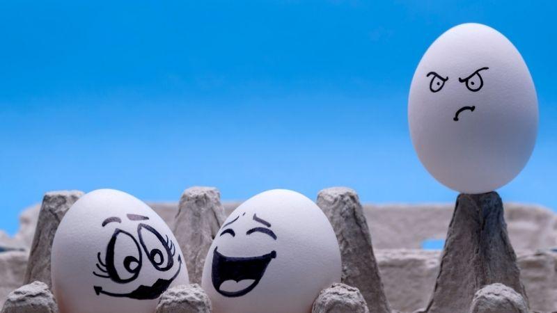 楽しそうに話す二人を見て嫉妬する卵